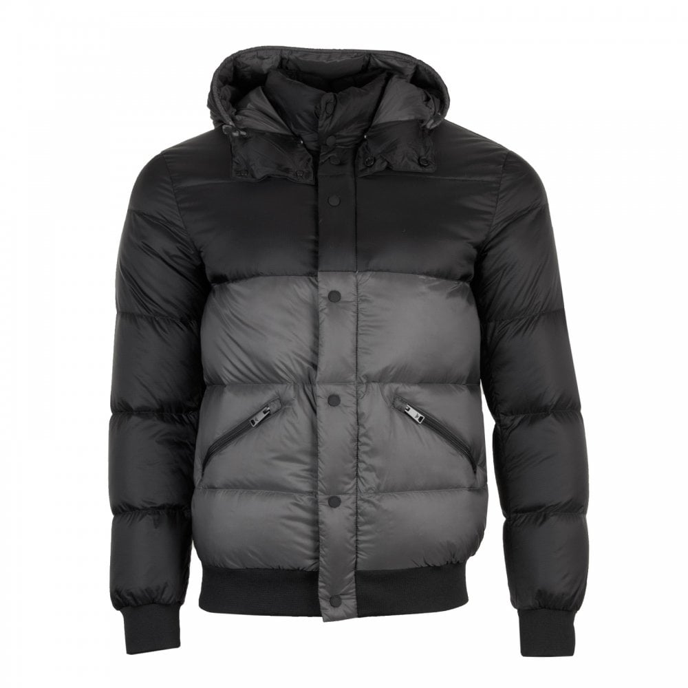 c3dc7ff2 Mens Quilted Down Jacket (Black/Grey)
