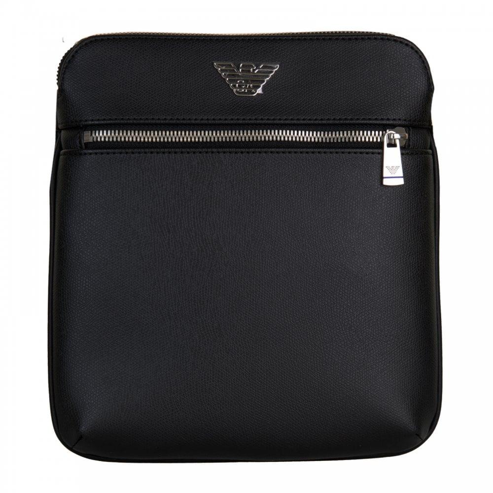 f7aa93b46252 EMPORIO ARMANI Emporio Armani Mens Small Flat Messenger Bag (Black ...
