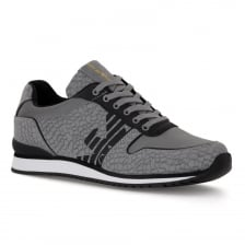 Emporio Armani Mens Snake Effect Trainers (Grey)