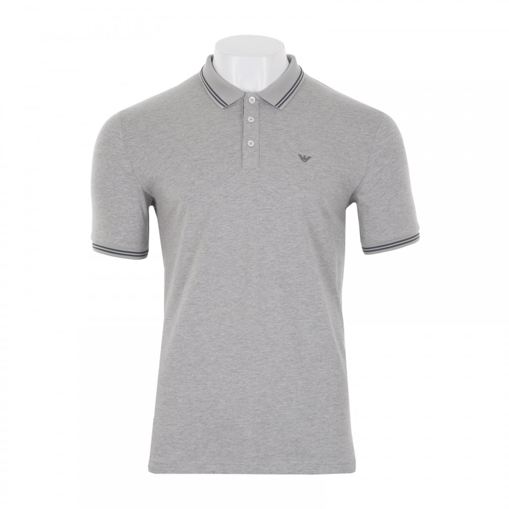 EMPORIO ARMANI Emporio Armani Mens Tipped Collar Polo Shirt (Grey ... 18790d952