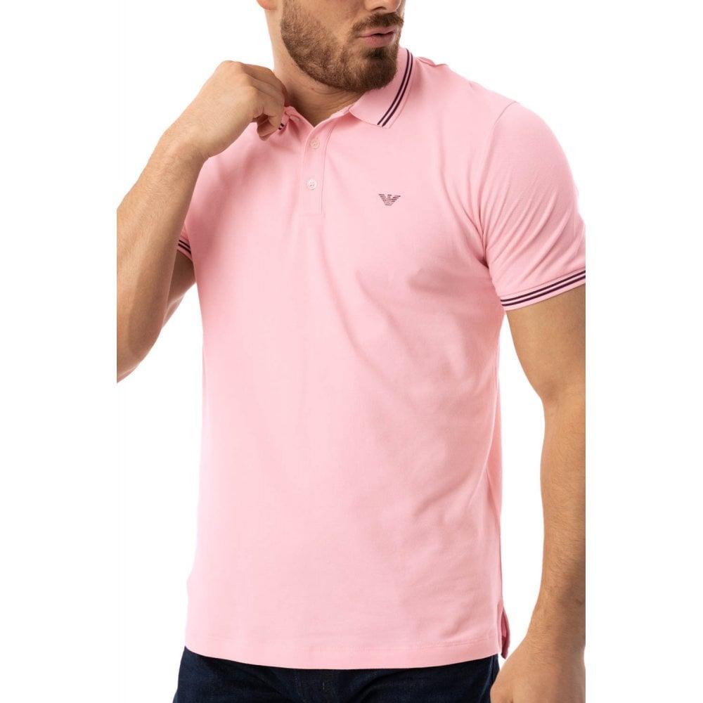 7ab94f3f84 EMPORIO ARMANI Emporio Armani Mens Tipped Collar Polo Shirt (Pink ...