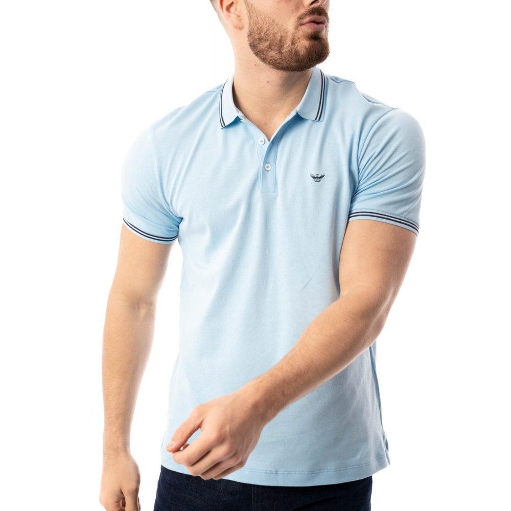 83df5493 EMPORIO ARMANI Emporio Armani Mens Tipped Collar Polo Shirt (Sky ...