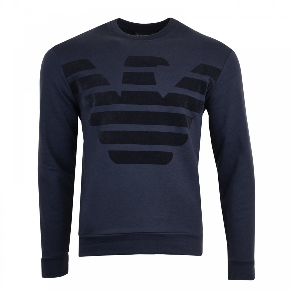 29c4b6c080 Mens Velvet Effect Logo Sweatshirt (Navy)