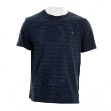 Farah Mens Aidan Crew Neck Pattern T-Shirt (Navy)