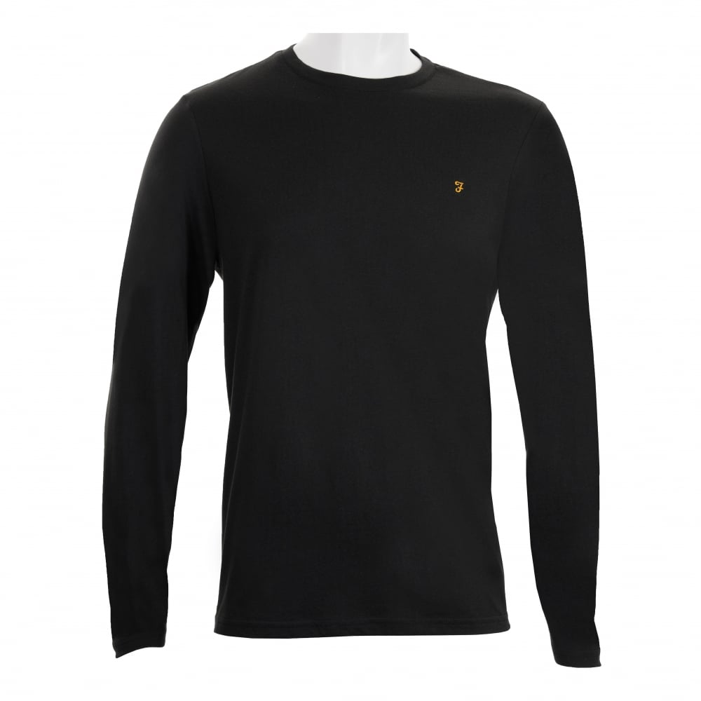 farah mens denny slim solid long sleeve t shirt black
