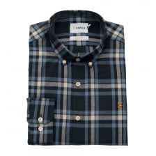 Farah Mens Fal Slim Fit Check Shirt (Blue/Navy/White)