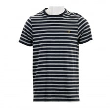 Farah Mens Lennox SS Stripe T-Shirt (Light Grey/Navy)