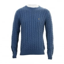 Farah Mens Norfolk Crew Neck Sweater (Slate Blue)