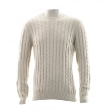 Farah Mens Norfolk Plain Crew Neck Cable Knit Sweater (Beige)