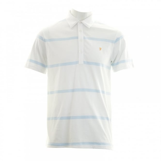 Farah Mens Seymour Stripe Polo Shirt (White/Blue)