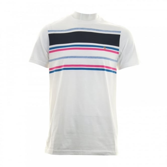 Farah Mens Stainton Stripe T-Shirt (White)