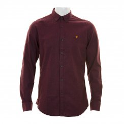 Farah Mens Vintage Steen Plain Shirt (Bordeaux)
