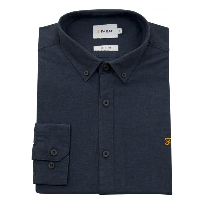 Farah Mens Vintage Steen Plain Shirt (True Navy)