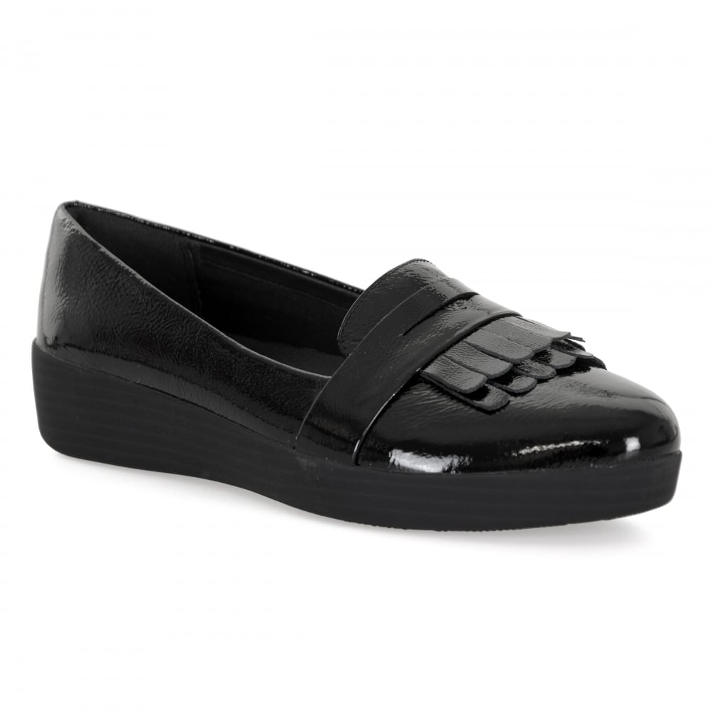 Fitflop Fringey Sneakerloafer Shoes All Black