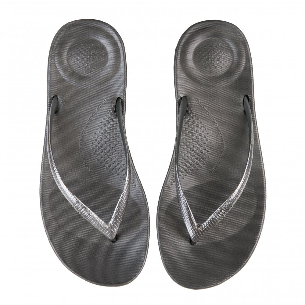 0e9ac341a17db5 FitFlop Fitflop Womens Iqushion Flip Flops (Silver) - Womens from ...