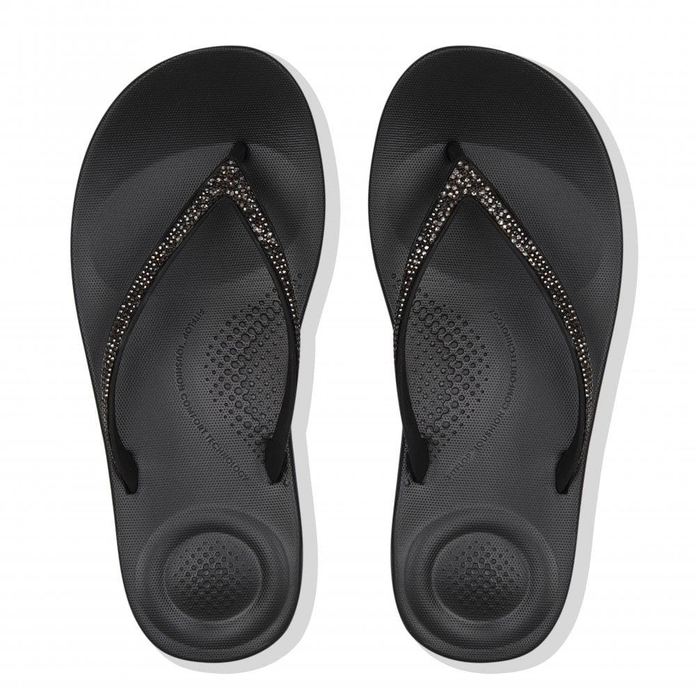 5fa34eedd FitFlop Womens Iqushion Sparkle Flip Flops (Black) - Flip Flops ...