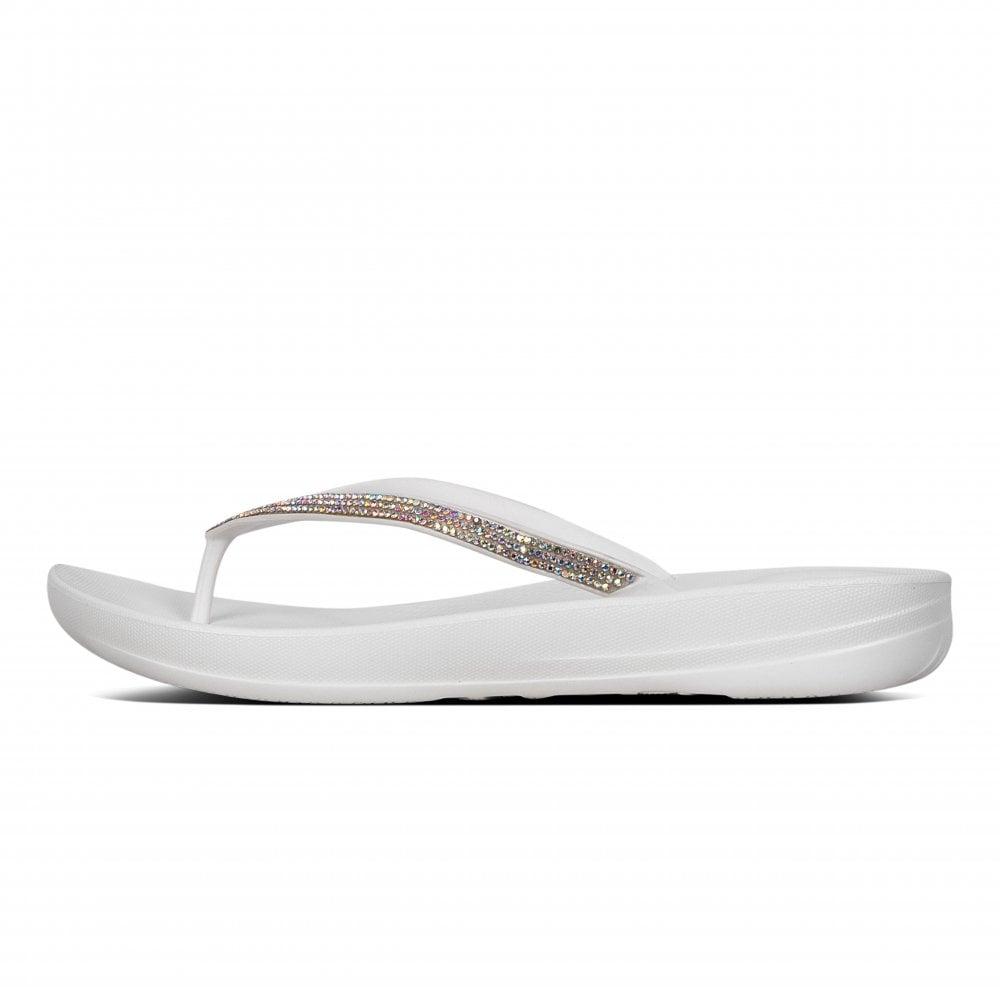 ec8dfe51e420 FitFlop Womens Iqushion Sparkle Flip Flops (White) - Flip Flops ...
