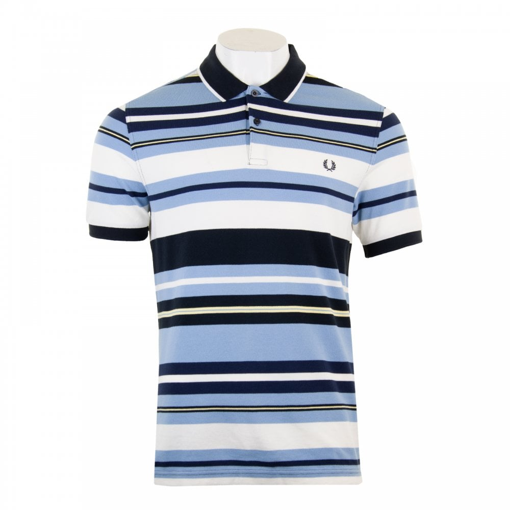 080bc74203 Fred Perry Mens Bold Stripe Polo Shirt (Sky) - Mens from Loofes UK