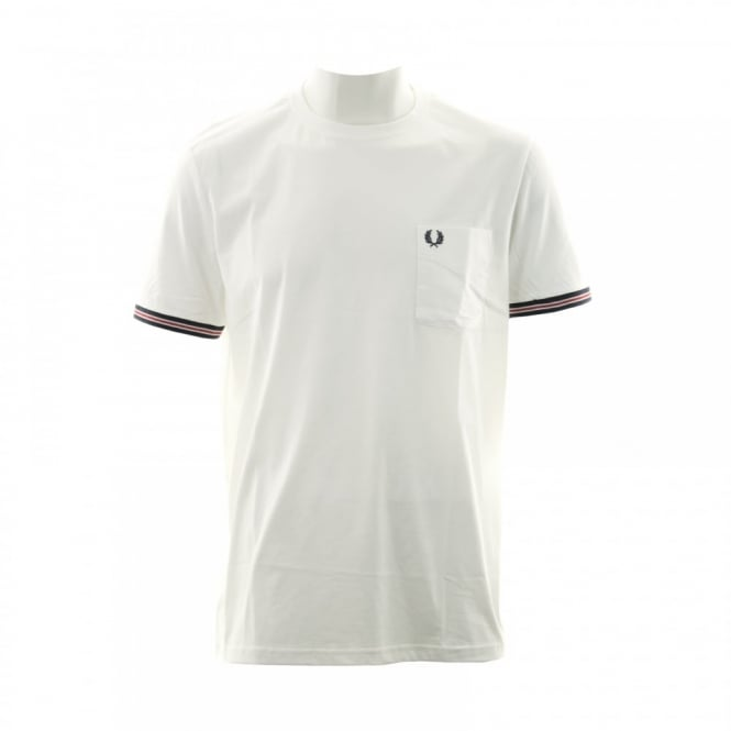 Fred Perry Mens Bomber Stripe Cuff T-Shirt (White)