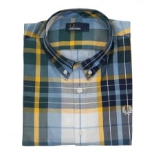 Fred Perry Mens Bright Madras Regular Fit Check Shirt (Blue)
