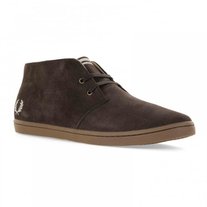 Fred Perry Mens Byron Mid Suede Plimsolls (Dark Chocolate)