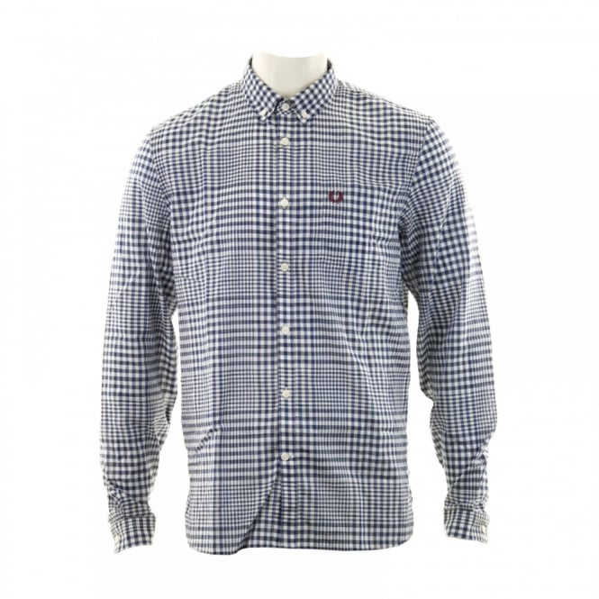 Fred Perry Mens Distorted Gingham Shirt (French Navy)