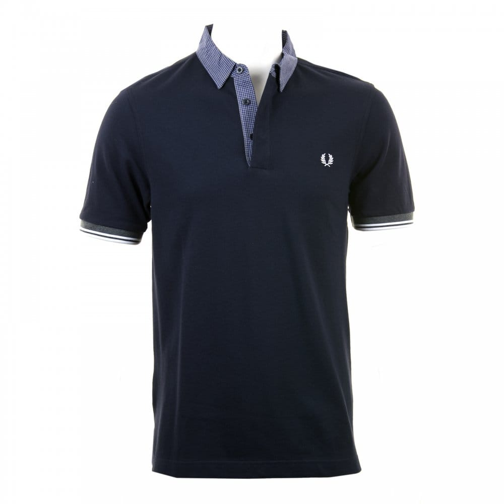 Fred perry fred perry mens gingham trim polo shirt navy Fred perry mens shirts sale