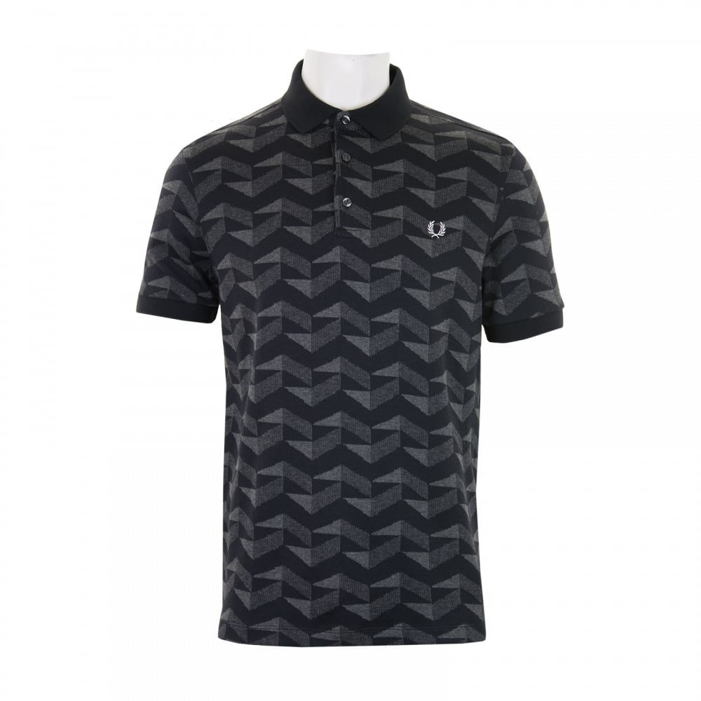 Fred perry mens graphic jacquard polo shirt black mens for Fred perry mens shirts sale