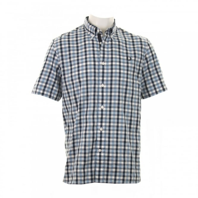 Fred Perry Mens Herringbone Gingham Shirt (Glacier)