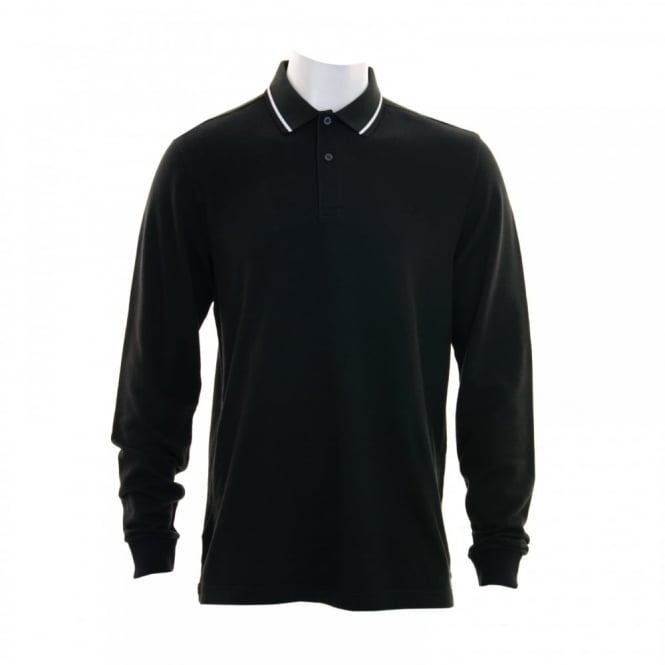 Fred Perry Mens Long Sleeve Tipped Polo Shirt (Black)