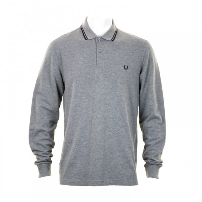 Fred Perry Mens Long Sleeve Tipped Polo Shirt (Grey)
