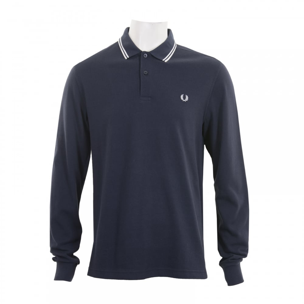 026f71f2f Fred Perry Mens Long Sleeve Tipped Polo Shirt (Navy) - Mens from ...
