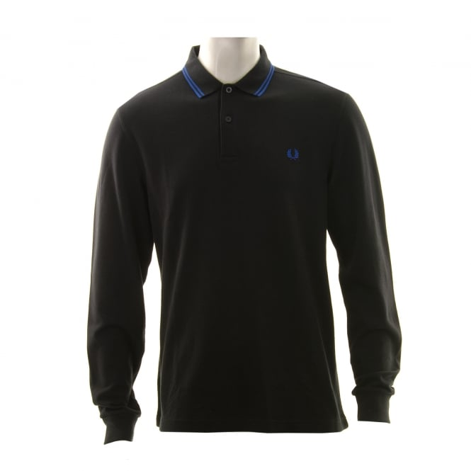 Fred Perry Mens Long Sleeved Twin Tipped Collar Polo Shirt (Black/Blue)