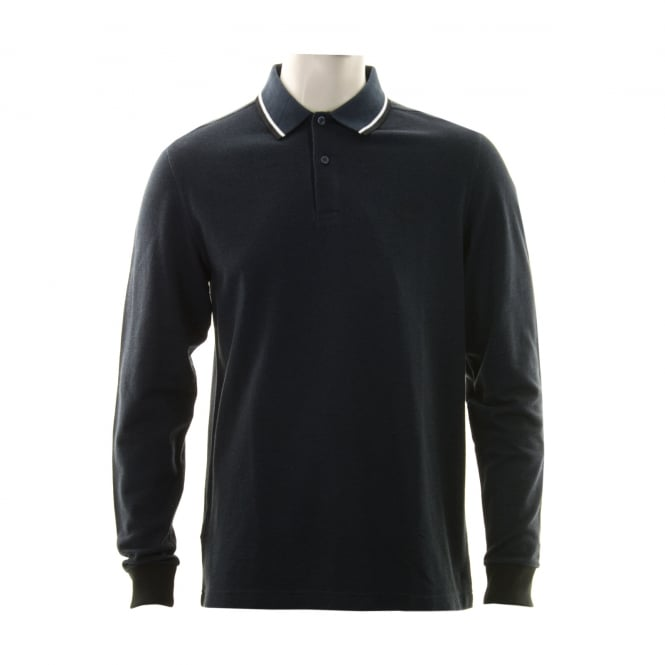 Fred Perry Mens Long Sleeved Twin Tipped Collar Polo Shirt (Deep Navy/White)