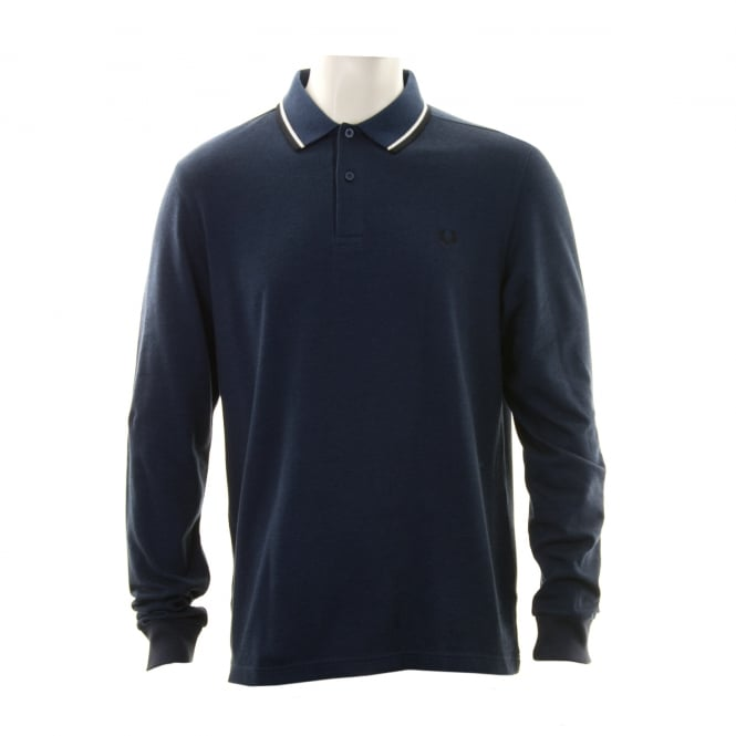 Fred Perry Mens Long Sleeved Twin Tipped Collar Polo Shirt (Navy/White/Black)