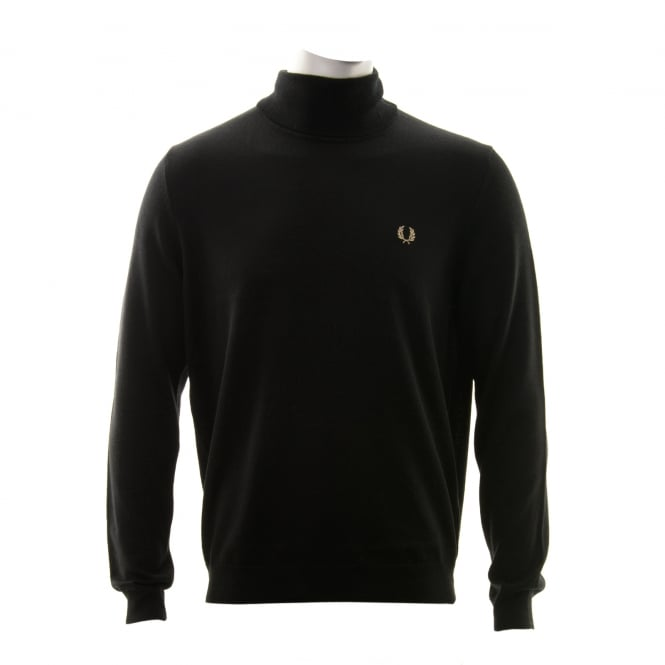 Fred Perry Mens Merino Wool Roll Neck Knitted Sweatshirt (Black)