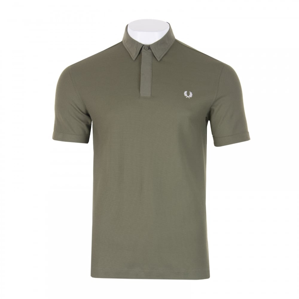 Fred perry mens oxford collar polo shirt olive mens for Olive green oxford shirt