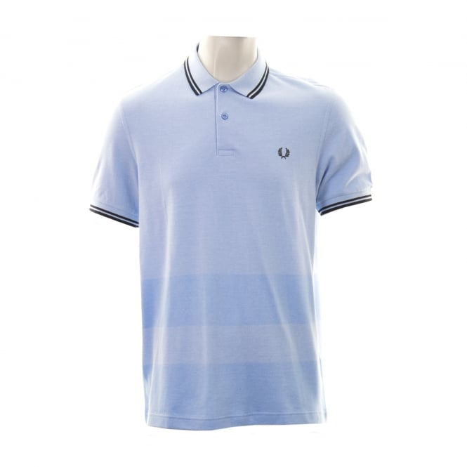 Fred Perry Mens Oxford Self Stripe Polo Shirt (Sky Blue/Black)
