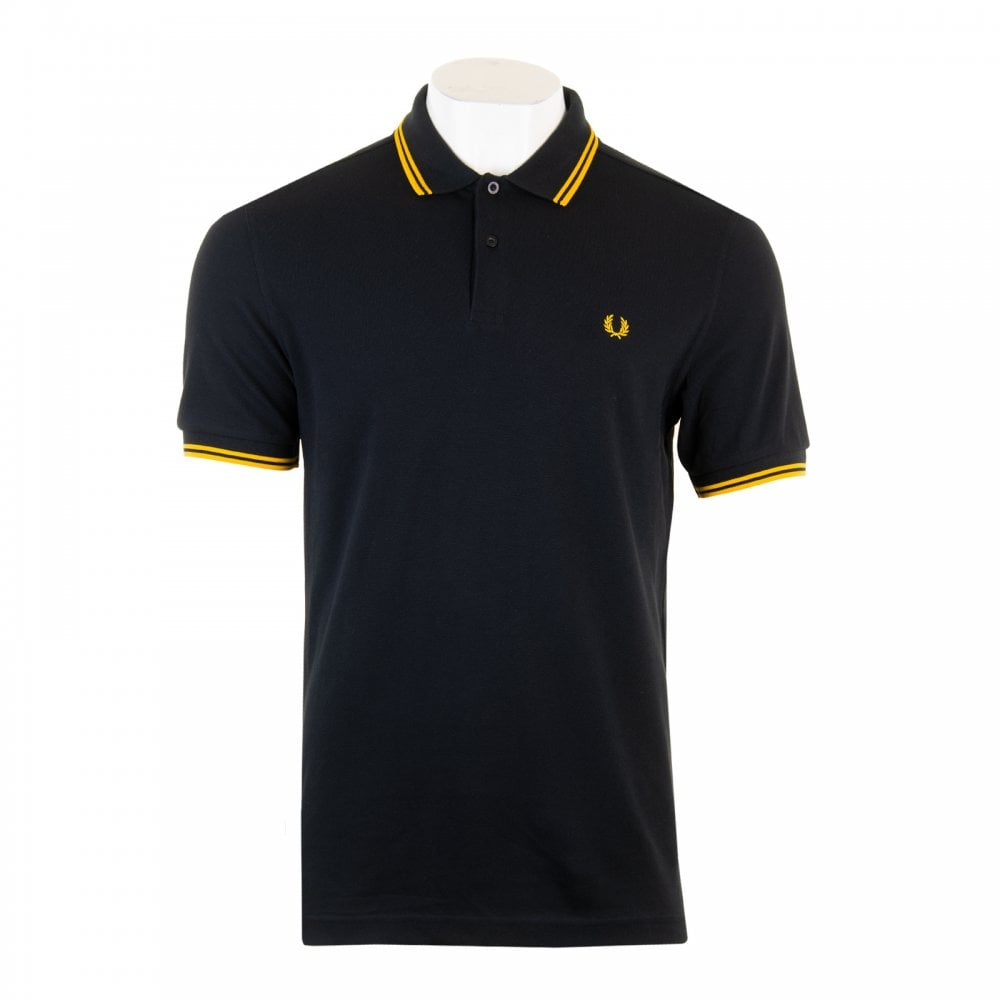 deb0e437c Fred Perry Mens Short Sleeved Twin Tipped Collar Polo Shirt (Black Yellow)