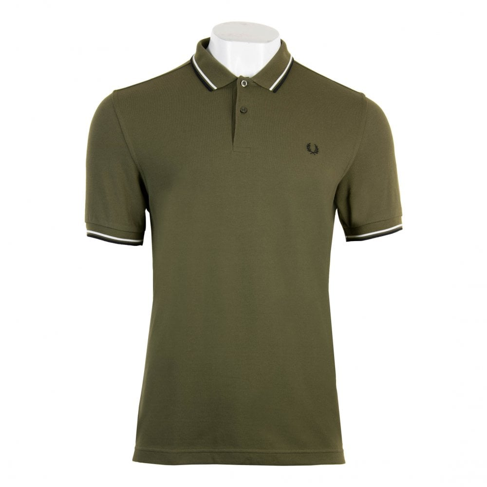 df6a7c014 Fred Perry Mens Short Sleeved Twin Tipped Collar Polo Shirt (Green ...