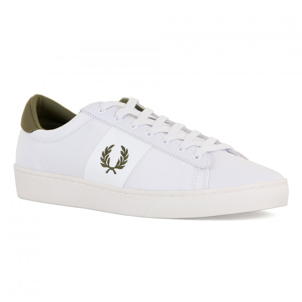 dce026b1301002 Fred Perry Mens Spencer Mesh   Leather Trainers (White) - Mens from ...