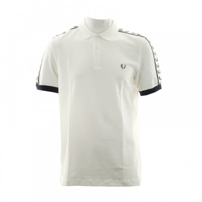 Fred Perry Mens Taped Sleeve Polo Shirt (Snow White)