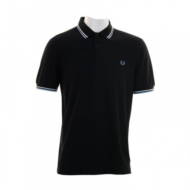 Fred Perry Mens Twin Tipped Collar Polo Shirt (Black)