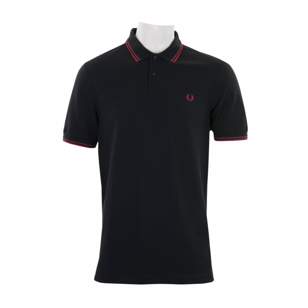 fred perry mens twin tipped collar polo shirt black red. Black Bedroom Furniture Sets. Home Design Ideas