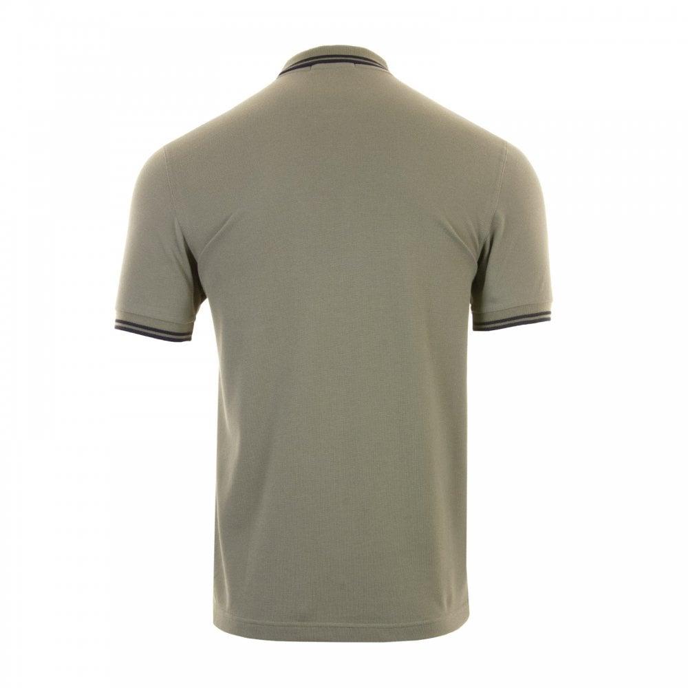 Fred Perry Mens Twin Tipped Collar Polo Shirt (Green Black) - Mens ... 7cdf2ae575e1