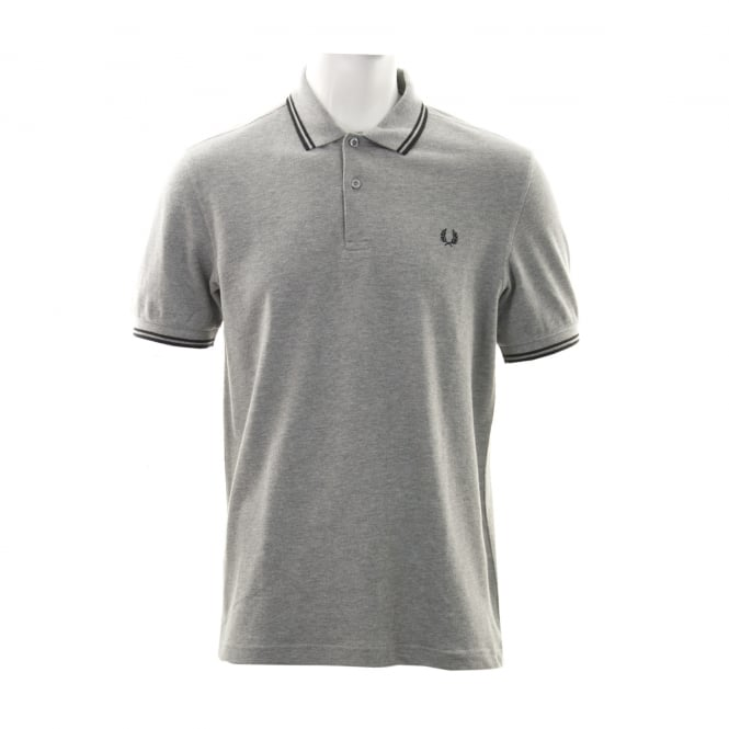 Fred Perry Mens Twin Tipped Collar Polo Shirt (Grey/Black)