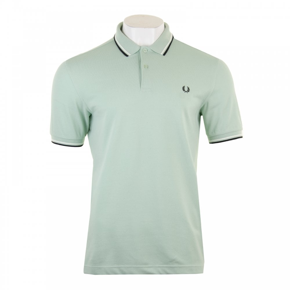 68a9375bc1385 Mens Twin Tipped Collar Polo Shirt (Mint)