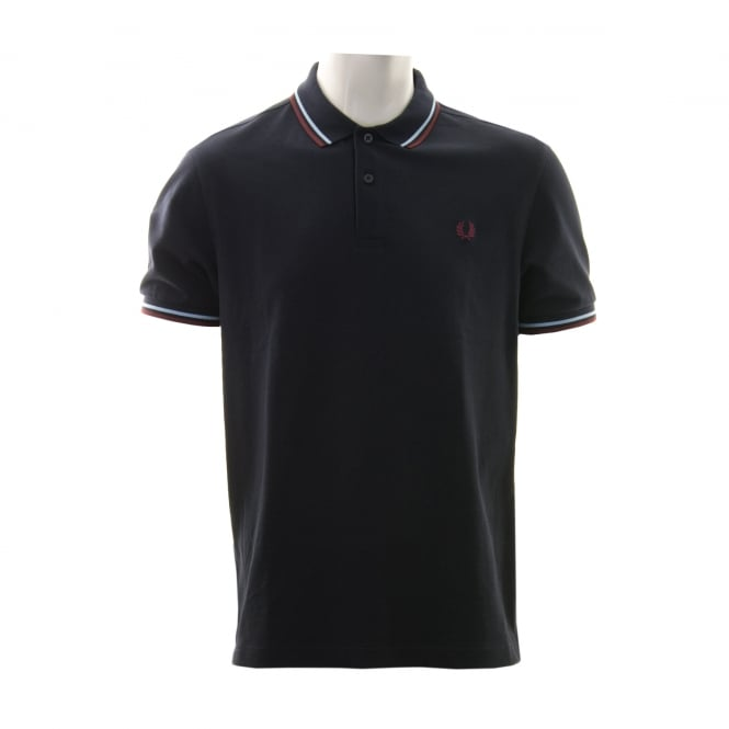 Fred Perry Mens Twin Tipped Collar Polo Shirt (Navy/Blue/Maroon)