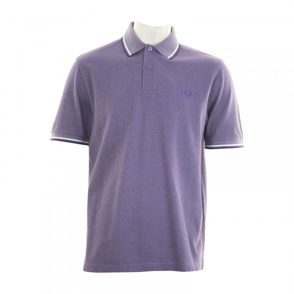 Fred Perry Mens Twin Tipped Collar Polo Shirt Purple