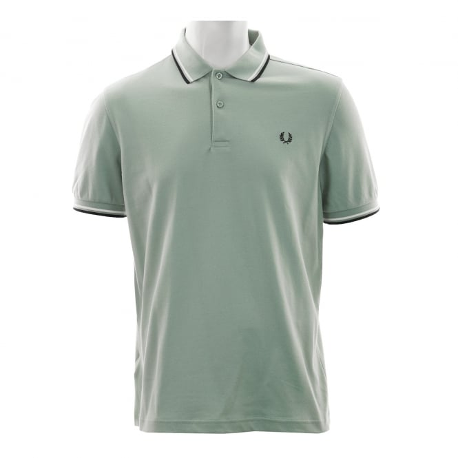 Fred Perry Mens Twin Tipped Collar Polo Shirt (Silver Blue/White/Black)